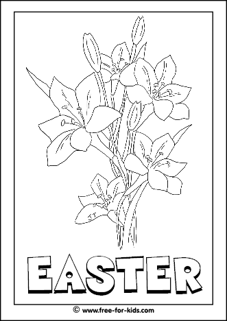 Preview Image of Printable Easter Colouring Page of Lillies