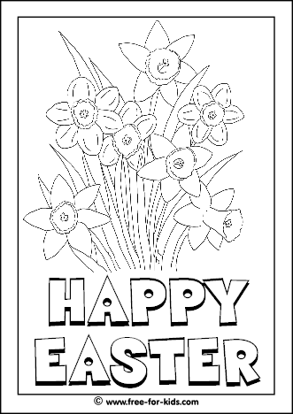 Preview Image of Printable Easter Colouring Page of Spring Daffodils