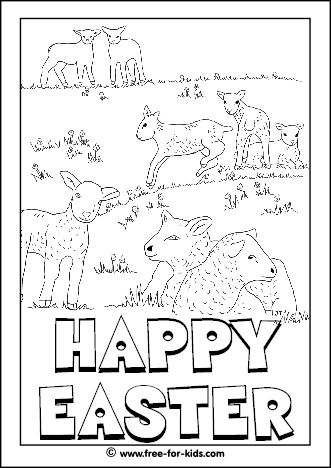 Preview Image of Printable Easter Colouring Page of Lambs