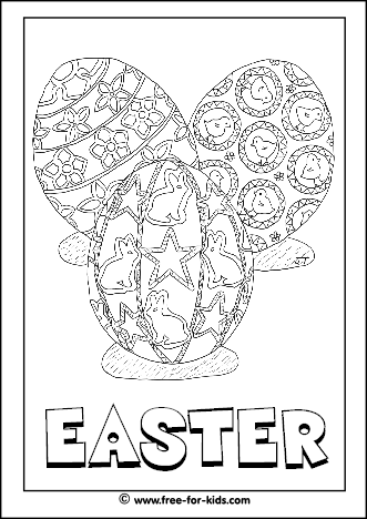 Preview Image of Printable Easter Colouring Page of Three Decorated Easter Eggs