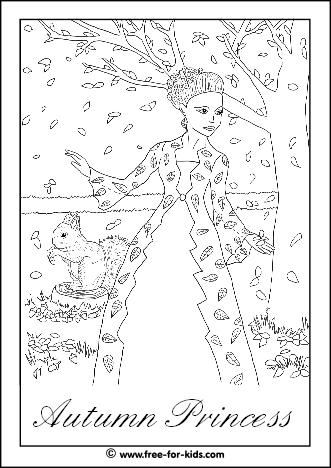 Preview of Autumn Princess Colouring Sheet