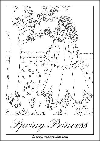 Preview of Spring Princess Colouring Sheet