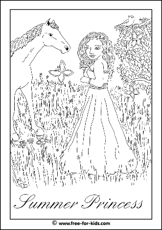 Preview of Summer Princess Colouring Sheet