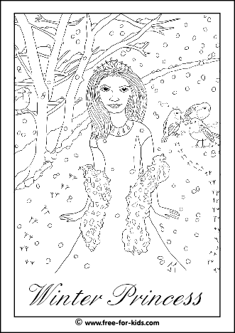 Preview of Winter Princess Colouring Sheet