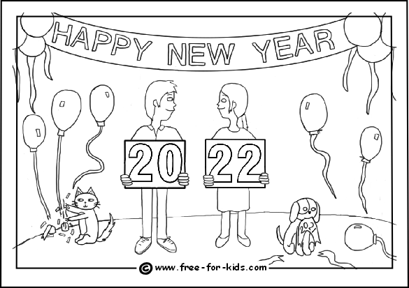 Preview image of 2022 childrens new year party colouring page