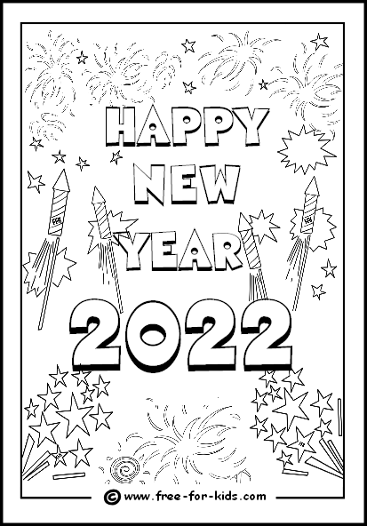 preview image of 2022 new year fireworks colouring page