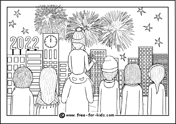 Preview image of colouring page of crowd watching 2022 new year fireworks