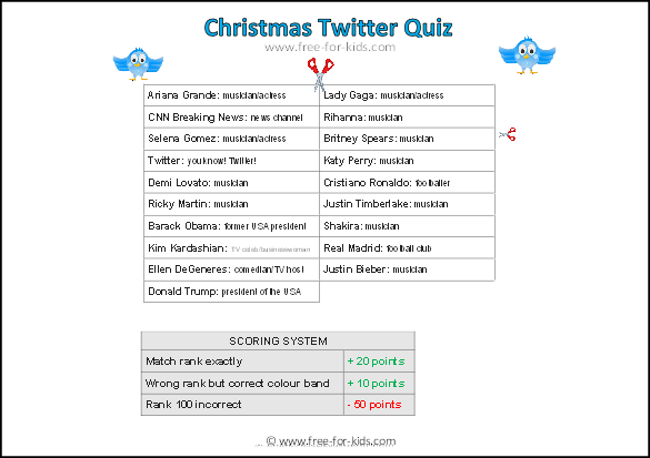 Second preview image of Christmas Quiz about Twitter Followers