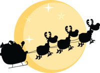 Santa and Sleigh Silhouette against Moon