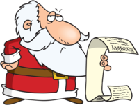Christmas quiz questions logo santa with list